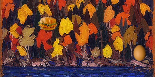 Test #1: Can you find the chicken sandwich? (Image by: Canadian artist Tom Thompson - Fall Colours)To